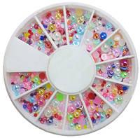 """3D жемчуг """"Конфетти"""" для дизайна ногтей (разноцветный)"""