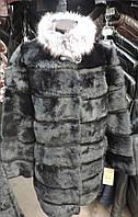 Шубка из меха кролика с серым мехом