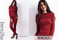 Костюм женский стильный теплый из ангоры кофта с воротником-хомут и брюки 4 цвета 6Db680