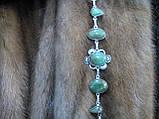 Браслет з хризопразом. Красивий браслет з природним каменем хризопраз в сріблі., фото 5