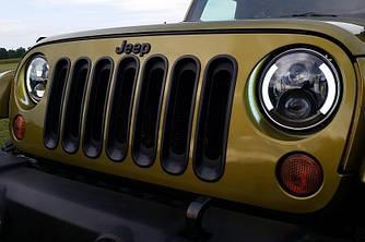 Передние Led фары оптика Jeep Wrangler TJ (California)