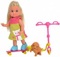Набор с куклой Эви Веселые развлечения, Steffi & Evi Love, розовый самокат и скейт (573 2295-2)