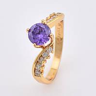 Кольцо 11106 размер 16, фиолетовый камень, позолота 18К, фото 1