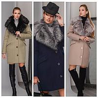 Женское зимнее пальто с меховым воротником