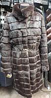 Шубка из натурального меха кролика, коричневого цвета