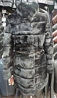 Шубка из меха кролика с черным мехом