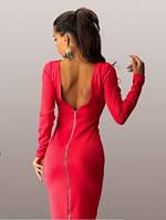 Красное облегающее платье футляр со змейкой