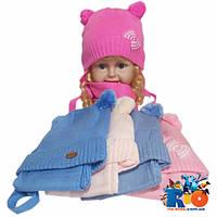 Детская шапка на флисе с шарфом, для девочек р-р 48-50