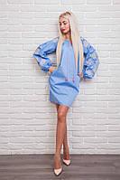 Платье-вышиванка Очарование с рукавами-фонариками, голубое