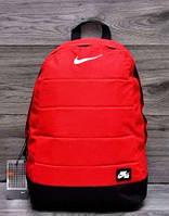 Рюкзак Nike красный с кожаным дном