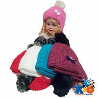 Детская шапка-ушанка на флисе,  для девочек р-р 44-48