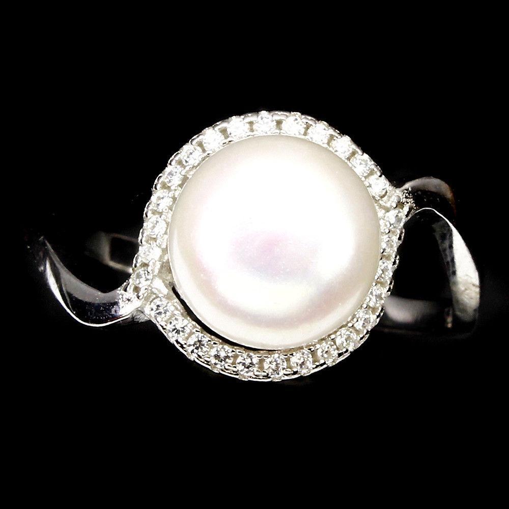 Перли білий Ø9, срібло 925, кільце, 892КЦЖ