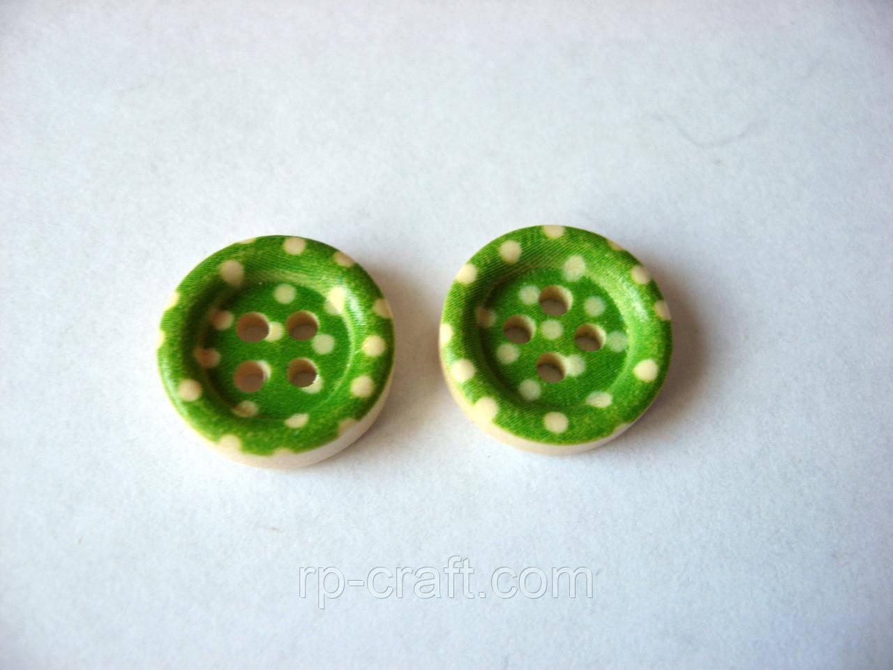 Пуговица деревянная, круглая в горошек, 13 мм, зеленая