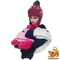 Детская шапка-ушанка на флисе,  для девочек р-р 50