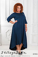 Повседневное трикотажное платье большого размера синее