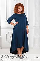 Повседневное трикотажное платье большого размера синее , фото 1