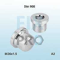 Заглушка нержавеющая  с фланцем и внутренним шестигранником DIN 908 М26х1.5 А2