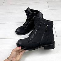 Ботиночки в стиле известного бренда, цвет: Черный материал: экокожа ( под нубук), спереди рабочая молния