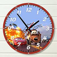 """Часы в детскую - """"Тачки (красный)"""" (на пластике)"""
