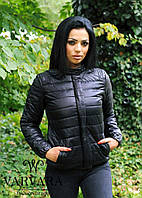 Женская демисезонная куртка ткань плащевка на синтепоне 150 черная до 52 размера