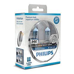 "Галогенка 12В ""Philips"" H4 60/55 White Vision Ultra 3700К (2 шт.) + 2 безцок. 5W (12342 WHVSM)"