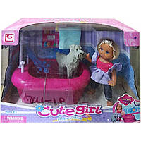 Кукла с собачкой,ванна K899-16, пластик