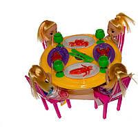Мебель 10435 (1113553) (72шт/2) 4 куколки,с посудой,под слюдой 19*19*15см