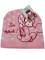 Красивая розовая шапка на девочку с Минни