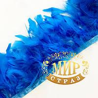 Тесьма перьевая из перьев индюка, цвет Dark Aquamarine, цена за 0.5м