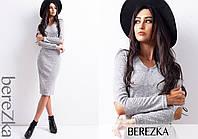 Платье стильное теплое с вырезами на локтях миди трикотаж ангора 2 цвета 6SMb1805