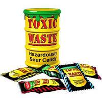 Самые кислые конфеты в мире Toxic Waste Candy (желтая банка 48 гр.  16 шт)