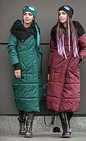Женский зимний пуховик-одеяло с вязаным воротником