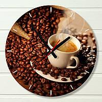 """Часы настенные на кухню - """"Чашка кофе"""" (на пластике)"""