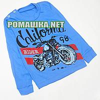 Детский реглан (джепмер,свитшот,футболка с длинным рукавом) р.92-98 для мальчика ткань 100% хлопок 3804 Синий