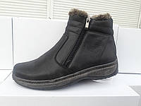 Зимние мужские кожаные ботинки 6203 GRIPPLE Размерный ряд: 40-45 черного цвета