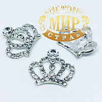 "Стразовый декор ""Корона"", размер 2,5х3 см, 1 шт"