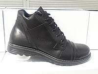 Зимние мужские кожаные ботинки Солдат Б GRAS Размерный ряд: 40-45 черного цвета