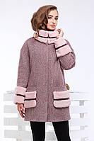Стильное демисезонное пальто Кейлин  декорировано мехом мутона и кожаными вставками