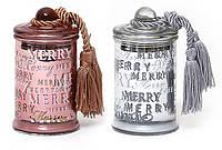 Свеча ароматизированная в стекле с крышкой и кисточкой (серебро и бронза) 110г)