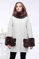 Шерстяное пальто Кейлин в бежевом цвете прямого фасона