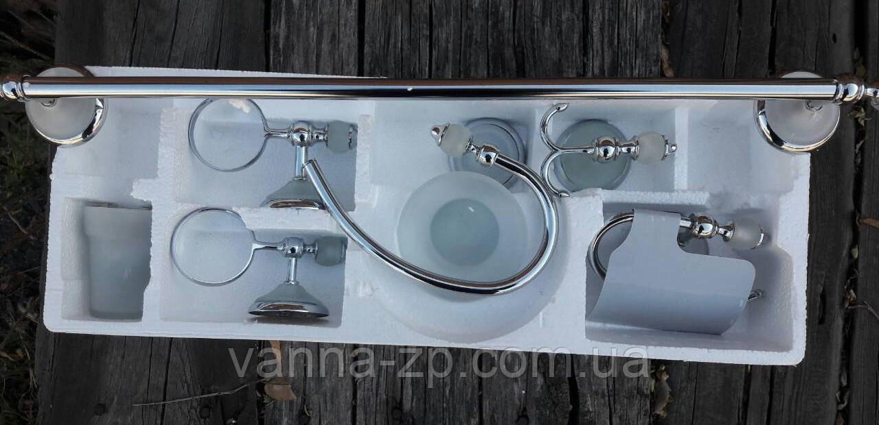 Набор аксессуаров для ванной комнаты с белым стеклом