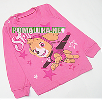 Детский реглан (джепмер,свитшот,футболка с длинным рукавом) р.92-98 для девочки ткань 100% хлопок 3804 Розовый