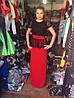 Платье в пол ,черное с красным