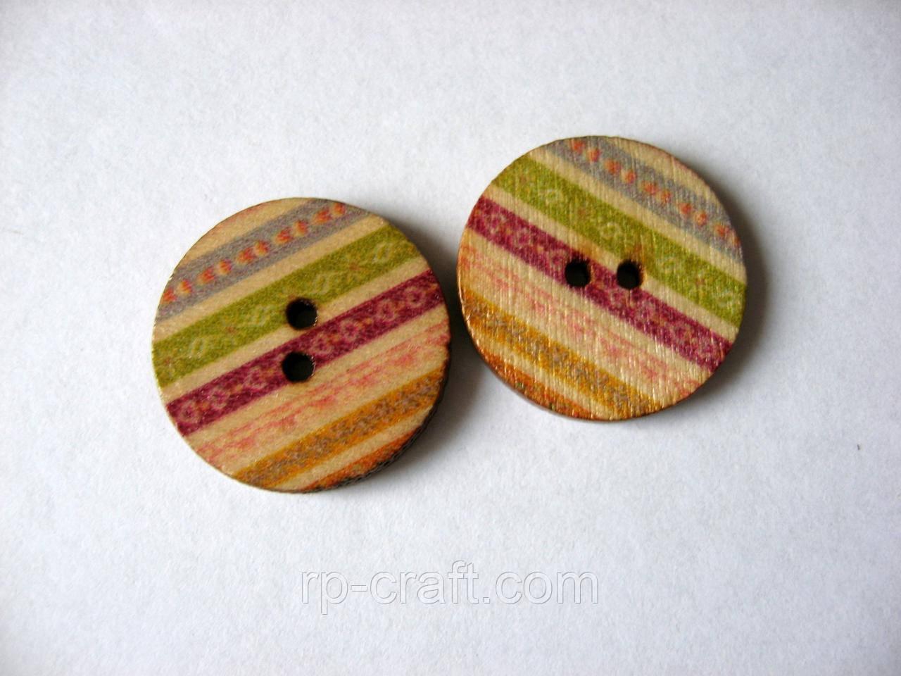 Пуговица деревянная, круглая, с орнаментом, 20 мм