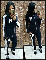 Спортивный теплый костюм Reebok ткань трехнитка с начесом +вышивальная аппликация черный