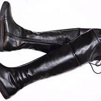 Кожаные женские высокие сапоги.