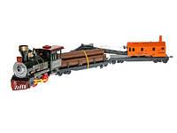 Паровоз батар + 2 платформы с краном,бревнами,под слюдой 50,5*6,5*11см ()