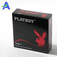 Презервативы точечно-ребристые анатомической формы Playboy 3in1 3 шт в упаковке
