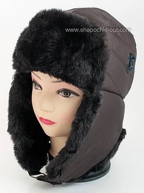Зимняя шапка-ушанка для мальчика Буковель черная с мутоном