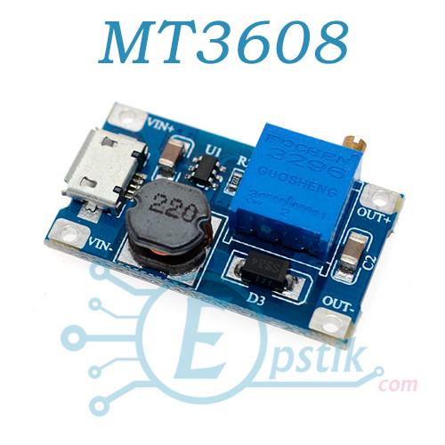 Модуль MT3608, DC-DC преобразователь 24В 2А, с microUSB входом